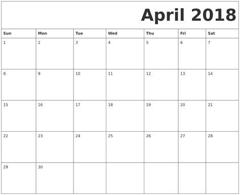 printable calendar april 2018 to march 2019 april 2018 free printable calendar