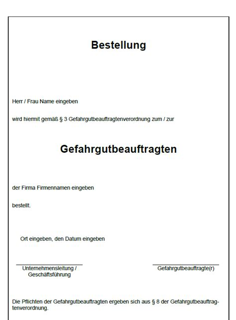 Bestellung Musterbrief Vorlage Bestellung Als Fachkraft F 252 R Arbeitssicherheit Sofort