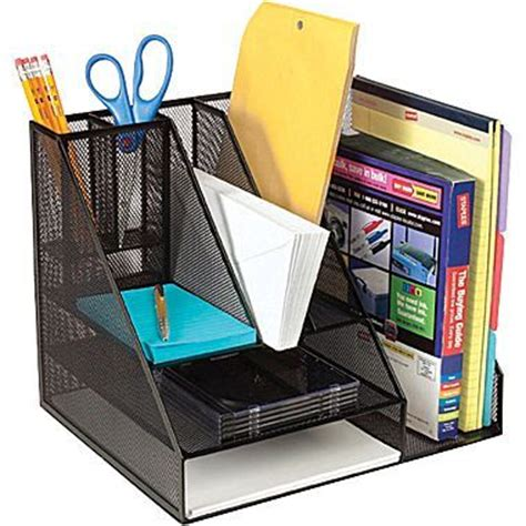 Staples 174 Black Wire Mesh Giant Desk Organizer Apprentice Desk Organizer