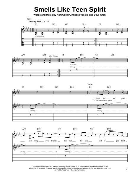 that smell and notes smells like teen spirit sheet music by nirvana easy guitar tab 168327