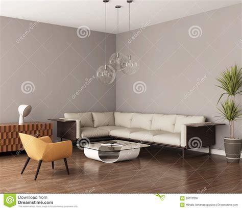 graues wohnzimmer graues wohnzimmer mit einem ledernen sofa stockfoto bild