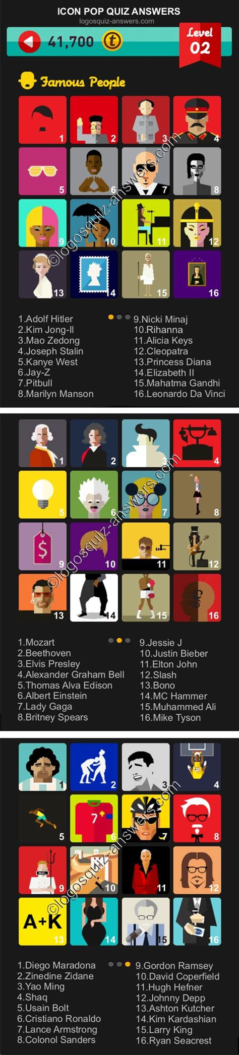 celeb pop quiz answers famous people level 2 cheats for iphone and android icon