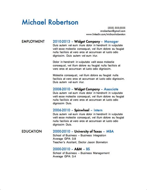 Resume Exles Year 10 12 Resume Templates For Microsoft Word Free Primer