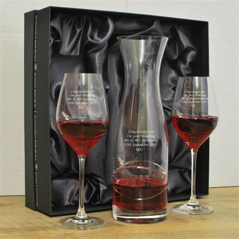 personalised wine glass decanter set with swarovski elements