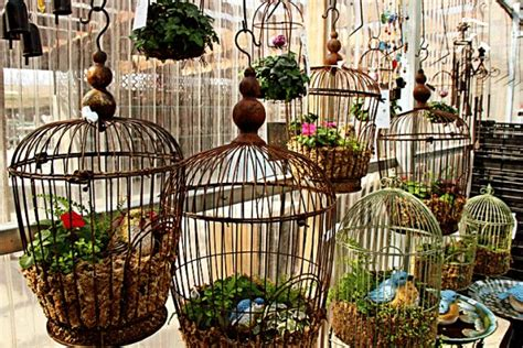 repurposed bird cages outdoor decorating recycled things