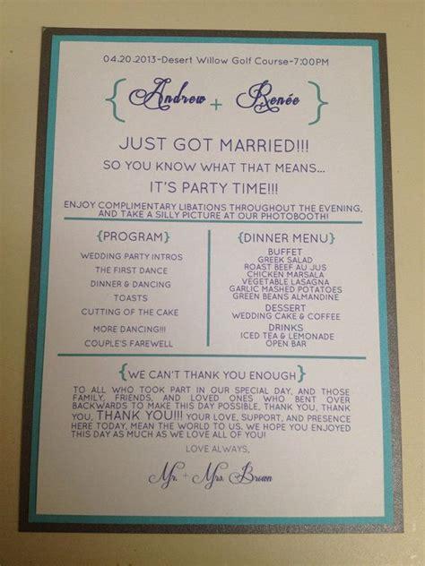 Reception Wedding Program by 11 Best Wedding Programs Images On