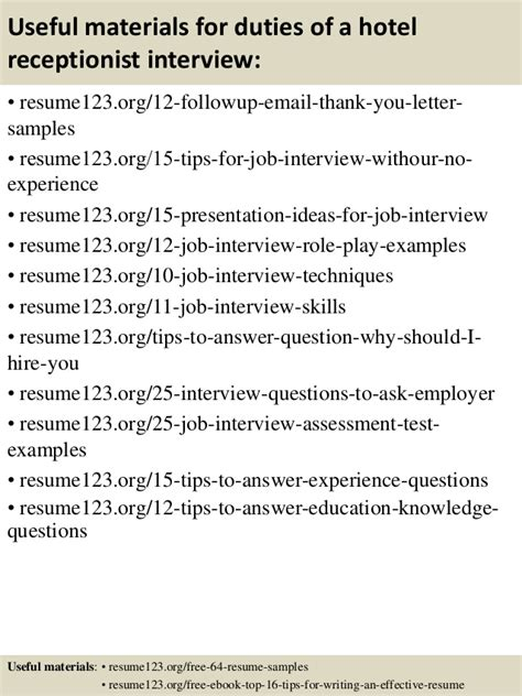 sle resume for hotel receptionist with no experience top 8 duties of a hotel receptionist resume sles