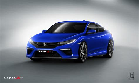 2017 honda civic coupe rendered in vanilla and super hot type r