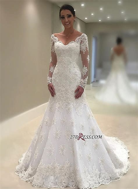 Elegant Long Sleeve Wedding Dress   2019 Mermaid Lace