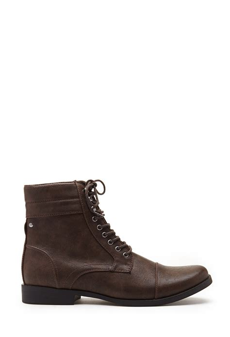 faux leather boots mens forever 21 faux leather lace up boots in brown for lyst