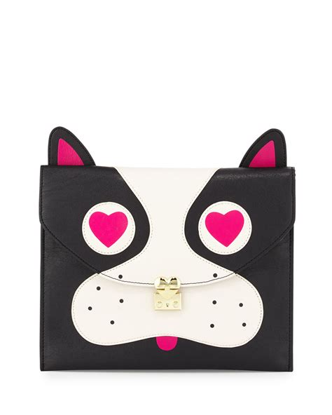 pug purse betsey betsey johnson pug faux leather clutch bag in black lyst