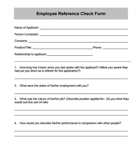 employment reference check form template sle reference check template 14 free documents in
