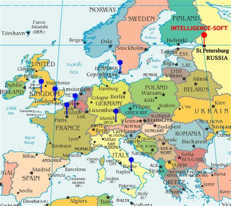 map of west europe with cities offshore software development company intelligence soft