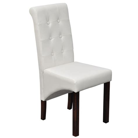 Scroll Back Dining Chairs 6 Scroll Back Artificial Leather Wooden Dining Chairs White Vidaxl