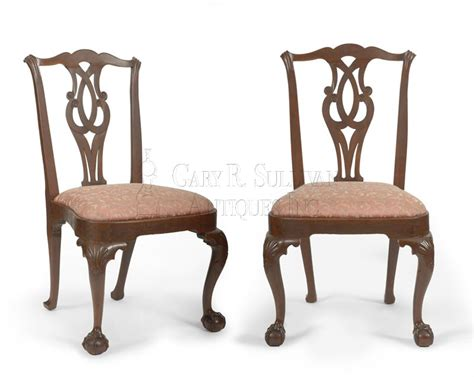Antique Chippendale Dining Chairs Pair Of Early Chippendale Dining Chairs Boston Mass Clocks 11027 Gary Sullivan Antiques
