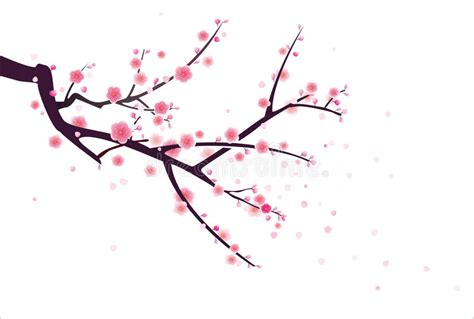 new year blossom tree vector cherry or plum blossom pattern stock vector illustration