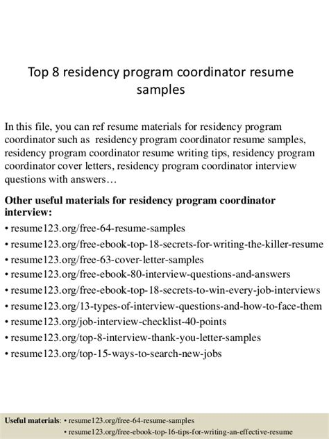 Residency Program Resume Top 8 Residency Program Coordinator Resume Sles