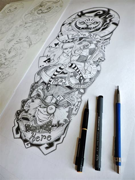 alice in wonderland tattoo sleeve in sleeve by er69ck on deviantart