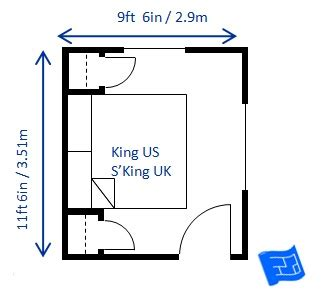 minimum room size for king bed bedroom size