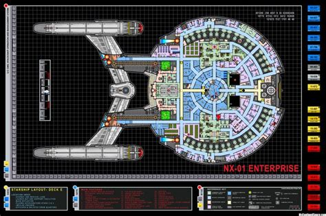 star trek enterprise floor plans colored schematic of deck e columbia class starship u s