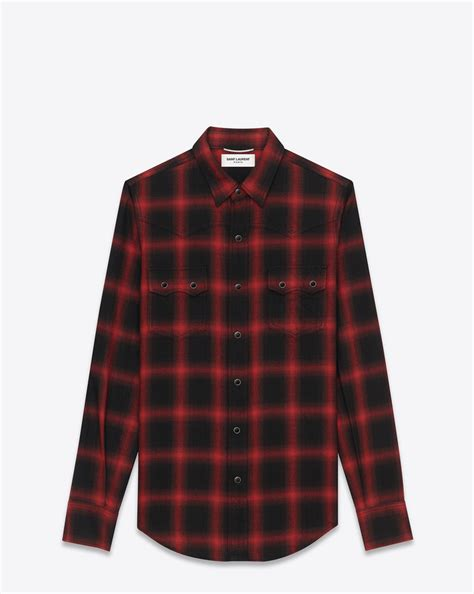 Blouse Rajut Impor Ysl laurent ysl nashville shirt in black and plaid cotton and tencel ysl