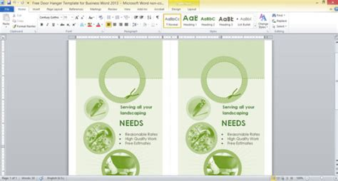 Free Door Hanger Template For Business Word 2013 Powerpoint Templates Microsoft Word