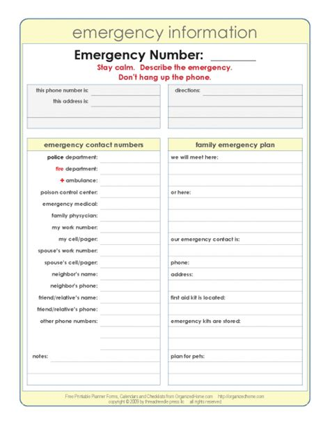 List Of Emergency Information You Should About Aging Parents by Business Continuity Management Pdf Home Emergency Contact