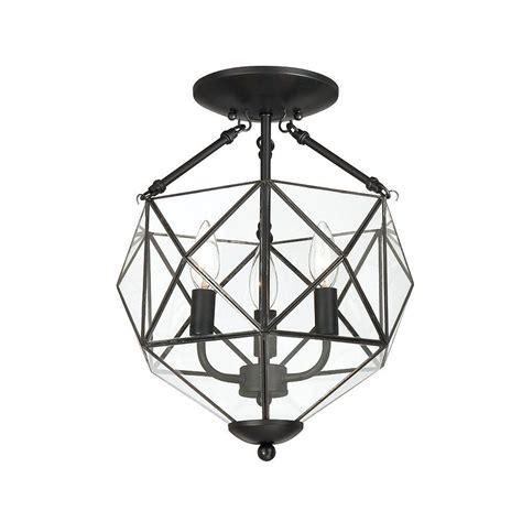 black flush mount light hton bay grayton 3 light faceted glass semi flush mount