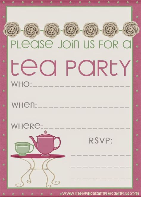 printable tea invitations template keeping it simple birthday ideas tea