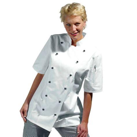 femme chef de cuisine veste de cuisine femme manches courtes cintr 233 e coton serg 233