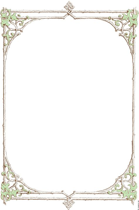free clip art victorian border of brown twigs and green