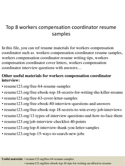 workers compensation resume resume ideas