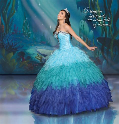 sea themed quinceanera dresses disney royal ball collection cascasing waves of ruffles