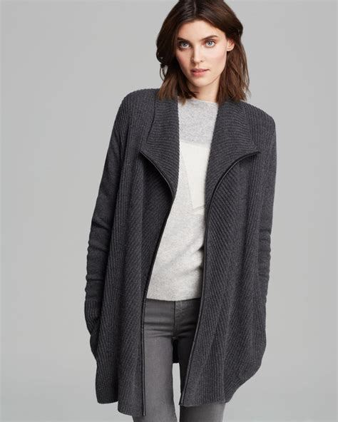 draped cardigans lyst vince cardigan leather trim drape in gray