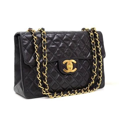 chanel black quilted lambskin leather gold hwjumbo maxi