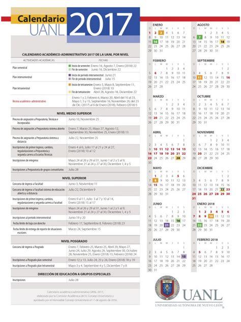 Calendario Con Fechas Festivas 2017 Calendario Uanl 2017