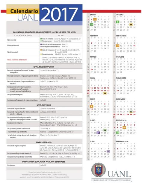 Calendario 2017 Fechas Festivas Calendario Uanl 2017