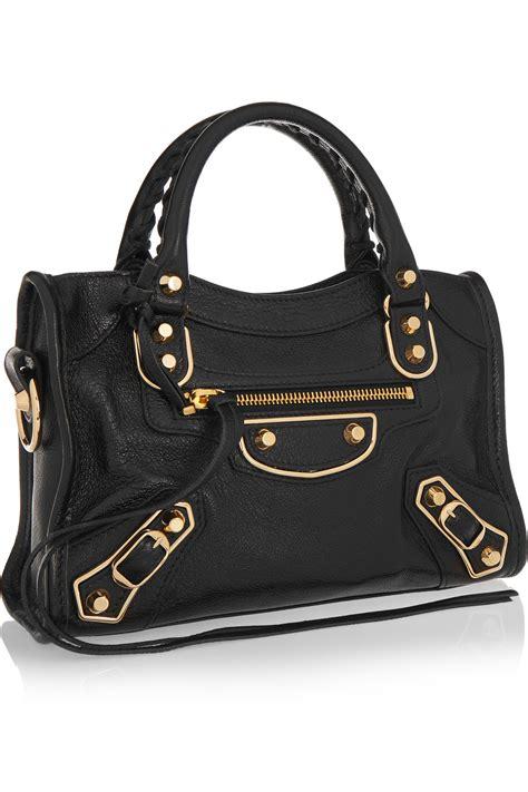 Leather Mini Bag Style Handbagshoulderbag lyst balenciaga classic metallic edge city mini textured