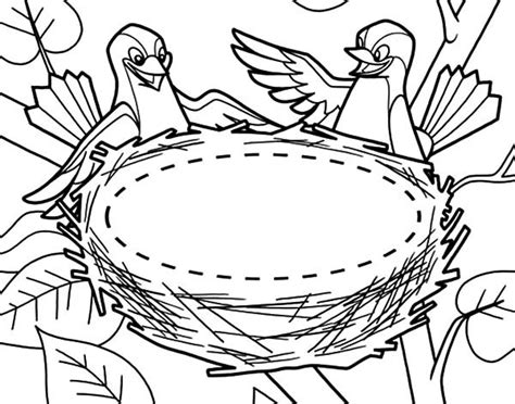 coloring pages of birds in a nest bird nest coloring