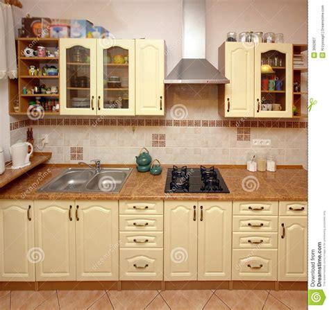 home kitchen counter stock image image of range beige
