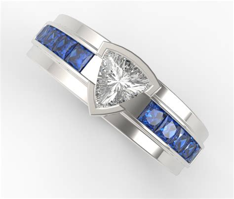 Wedding Rings With Sapphires by Unique S Trillion Cut Wedding Band White