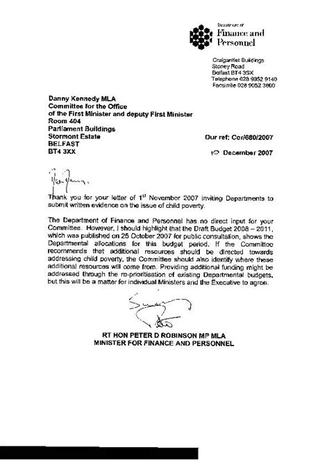 Finance Department Letter Northern Ireland Assembly Ofmdfm Committee Report