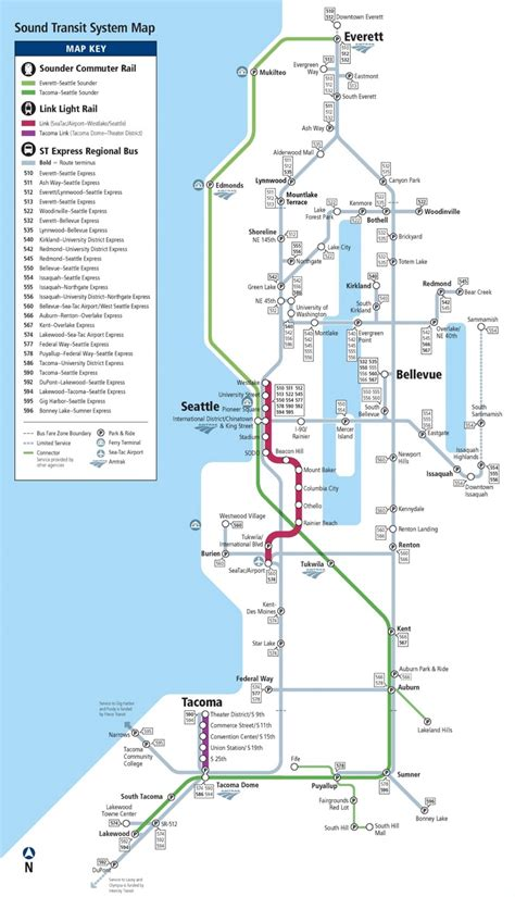 seattle map with light rail seattle express rail and light rail map