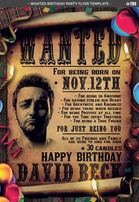 wanted birthday party flyer template  lou graphicriver