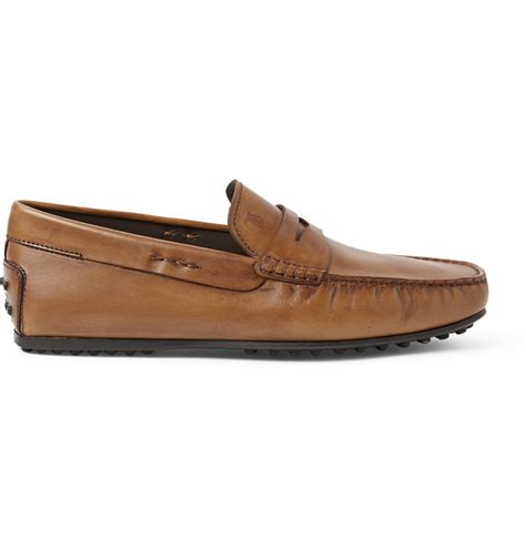 brown driving loafers tod s gommino leather driving shoes in brown for lyst