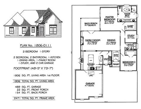 Two Room And Garage Plan by 1 Story 2 Bedroom 2 Bathroom 1 Kitchen 1 Dining Room