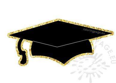 black gold graduation hat vector clipart coloring page