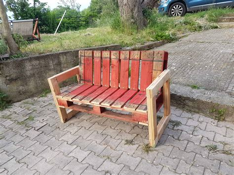 outdoor pallet bench red pallet garden bench for outdoor relaxing 1001 pallets