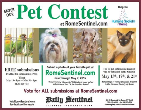 Pet Sweepstakes - humane society of rome