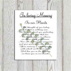 memory poem template memorial printable in loving memory print memorial table
